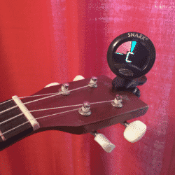 tuning a uke with guitar tuner